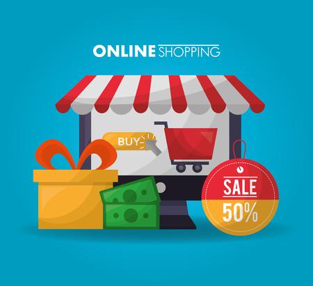 online shopping shop store gift box money sticker sale discount vector illustration Stock Vector - 112259072
