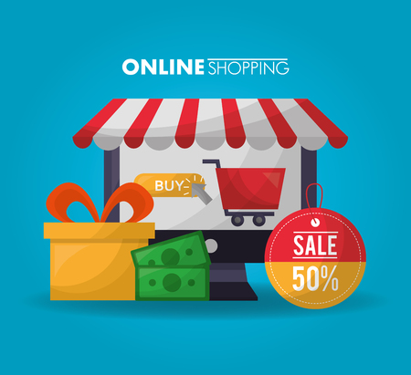 online shopping shop store gift box money sticker sale discount vector illustration Illustration