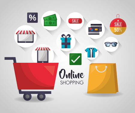 online shopping shop car handbag stickers accessories discount buy sale things vector illustration