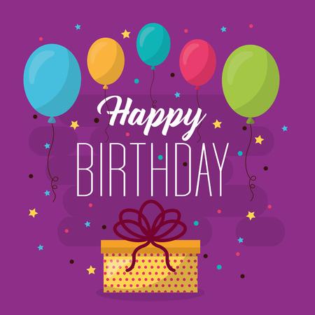 happy birthday balloons colors celebration gift box serpentine vector illustration Illustration