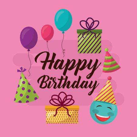 happy birthday celebration party hats balloon gift box vector illustration