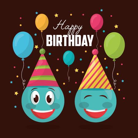 happy birthday emoji smiling party hats balloons colors celebration vector illustration
