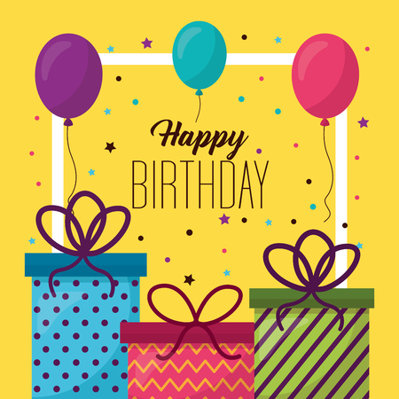 happy birthday gift boxes frame photo decoration balloons vector illustration Stock Illustratie