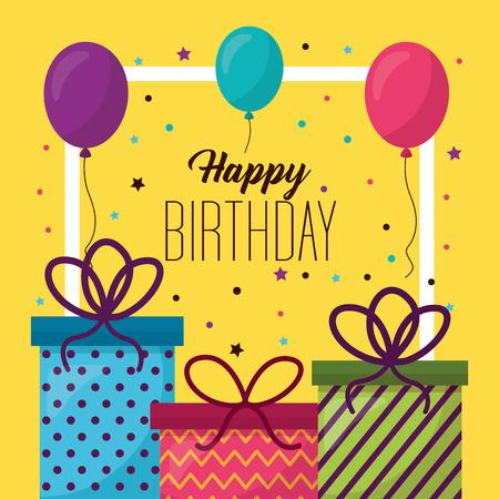 happy birthday gift boxes frame photo decoration balloons vector illustration Illustration