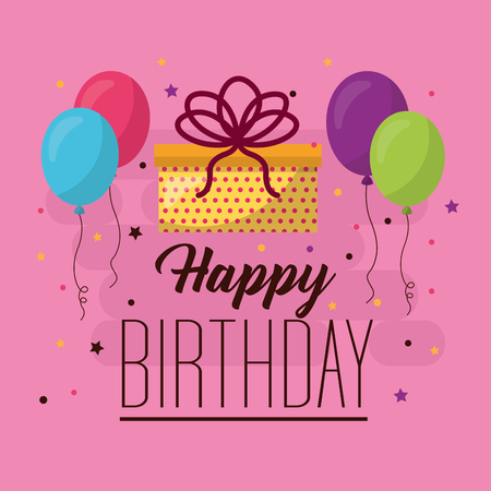 happy birthday balloons serpentine gift box celebration vector illustration Stock Illustratie