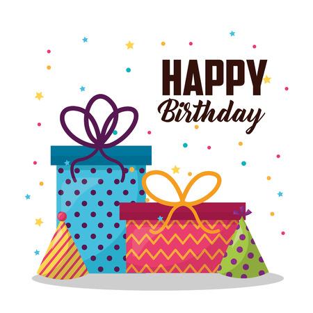 happy birthday gift box party hat serpentines colors vector illustration Stock Illustratie