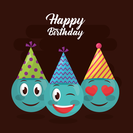 happy birthday emojis smiling love party hat colors vector illustration