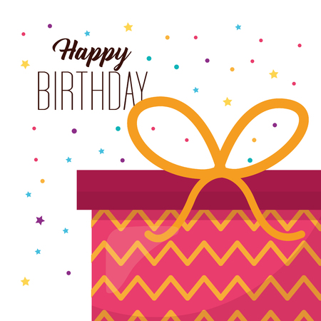 happy birthday gift box surprise party serpentine colors vector illustration