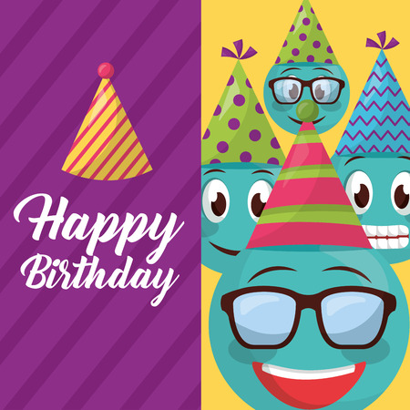 happy birthday label emojis smiling using glasses party hats sign vector illustration