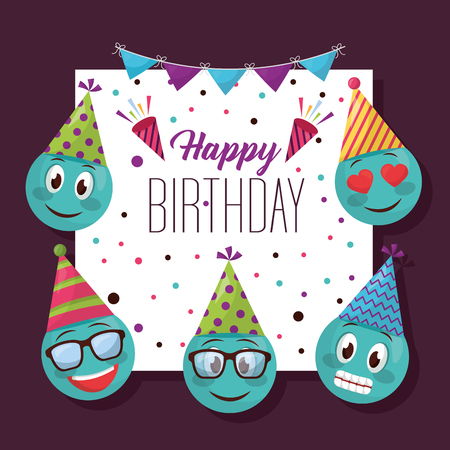 happy birthday pennants serpentine frame emojis smiling love glasses vector illustration Ilustração