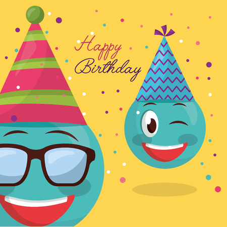 happy birthday emojis using glasses smiling serpentine party vector illustration