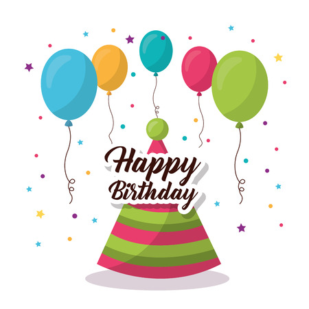 happy birthday party hat colors balloons sign serpentine vector illustration
