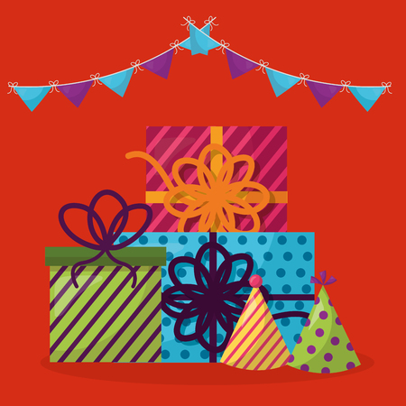 happy birthday pennant gift boxes party hats colors celebrate vector illustration