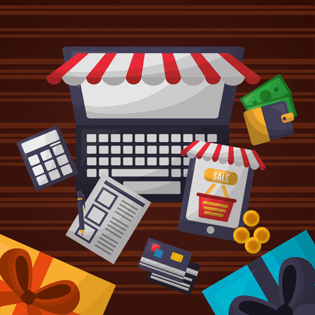 online shopping computer shop store gift boxes coins credit cards list calculator vector illustration