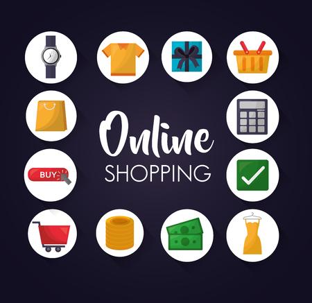 Online-Shopping-Aufkleber Zubehör kleiden Geld-Vektor-Illustration