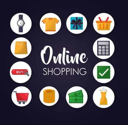 online shopping stickers accessories clothe money vector illustration