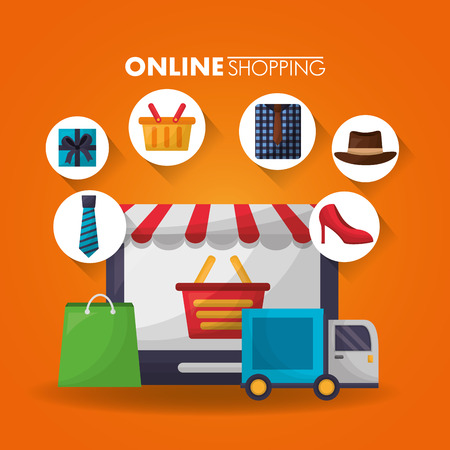 Compras en línea cesta de pantalla pegatina accesorios venta descuento ilustración vectorial Ilustración de vector