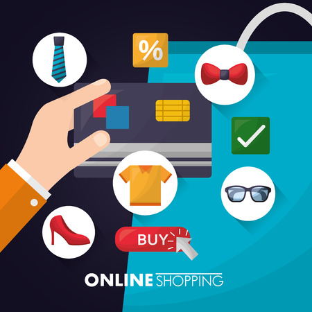 online shopping hand credit card sticker accessories clothe discount porcent vector illustration