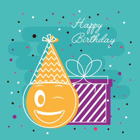 happy birthday serpentine sign yellow emoji party hat gift box vector illustration Zdjęcie Seryjne - 105876290