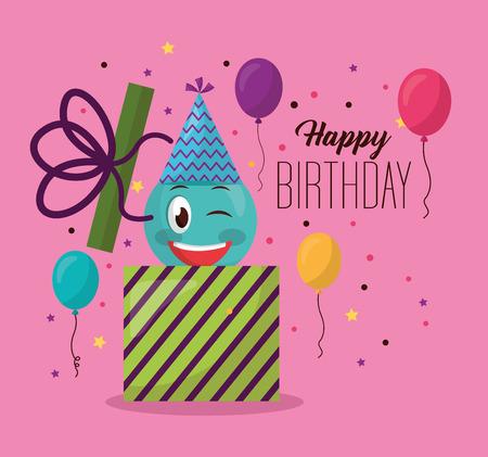 happy birthday gift box emoji stinging the eye balloons serpentine colors vector illustration