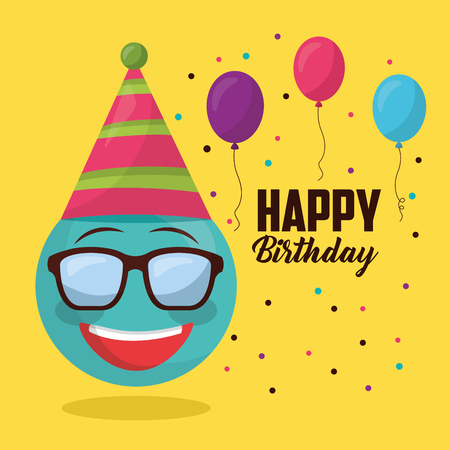 happy birthday emoji with glasses smiling party hat balloons decoration vector illustration Illustration