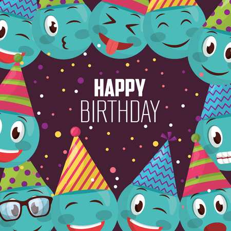happy birthday party hats serpentine colors emojis enjoying vector illustration