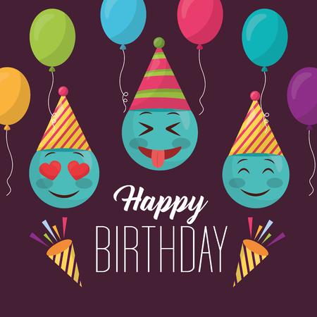 happy birthday emojis making gestures balloons colors party vector illustration Vektorové ilustrace