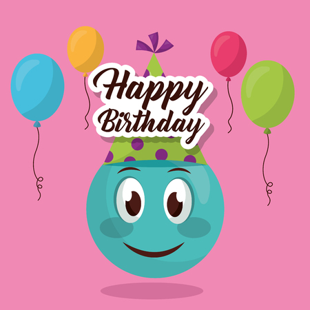 Happy Birthday Emoji Smiling Party Hat Sign Balloons Colors Vector Illustration Stock
