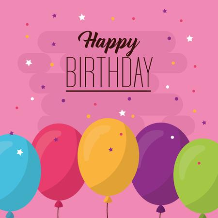 happy birthday balloons colors serpentine decoration party celebration vector illustration