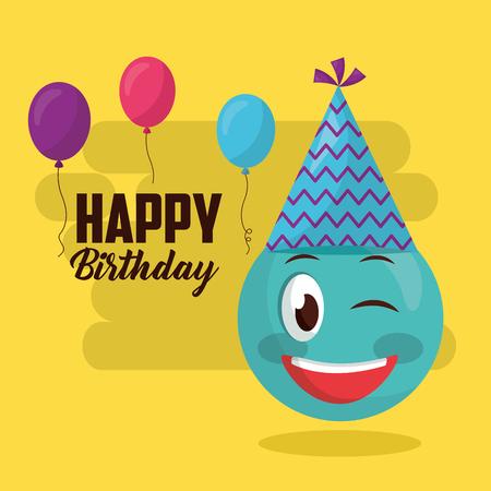 happy birthday emoji stinging the eye party hat balloons sign vector illustration