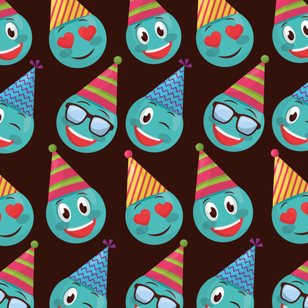 happy birthday blue emojis smiling love using glasses party hat vector illustration Illustration