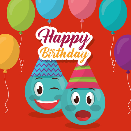 happy birthday emojis surprise smiling party hats balloons decoration vector illustration