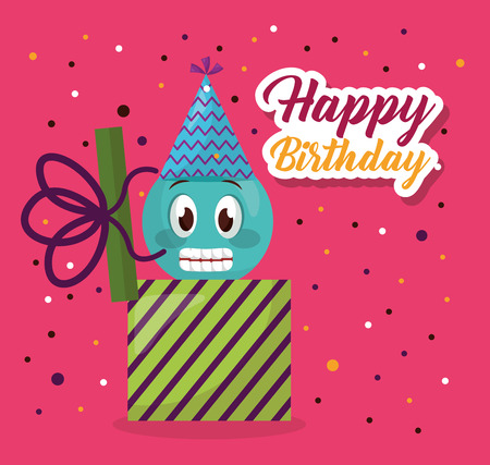 happy birthday serpentine emoji gift box surprise vector illustration Ilustração