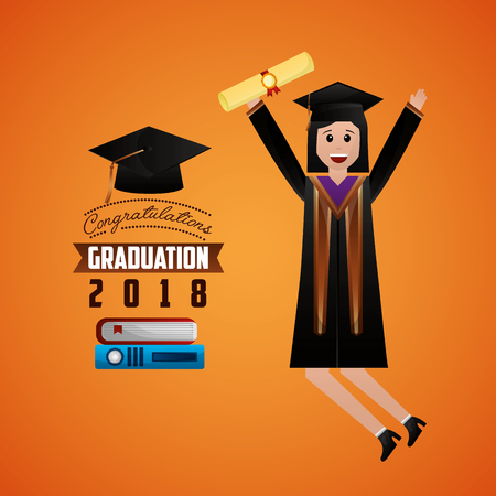 congratulations graduation student jumping smiling holding certificate books sign vector illustration