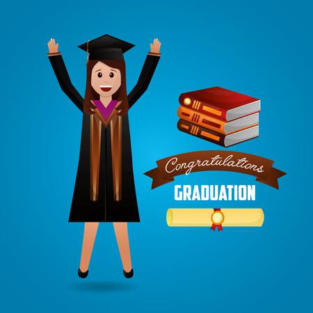 congratulations graduation student hands up books sign vector illustration