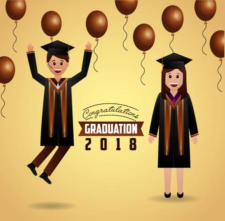 congratulations graduation balloons brown decoration students smiling vector illustration