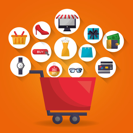 online shopping shop car stickers accessories money clothe vector illustration Ilustração