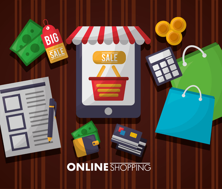 online shopping smartphone list shop bag coins calculator dress credit card vector illustration Illustration