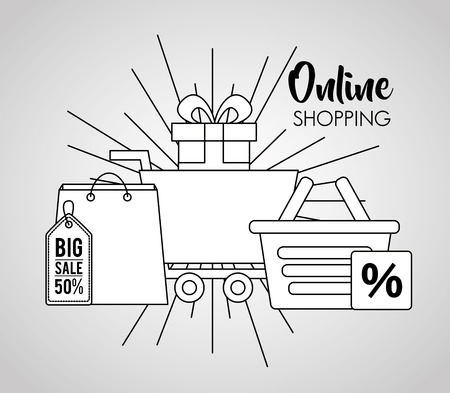 online shopping handbag basket discount porcent shop car vector illustration Çizim