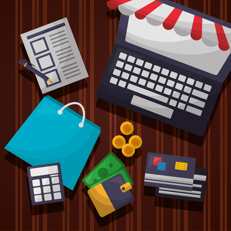 online shopping computer shop bag coins money credit card wallet list vector illustration