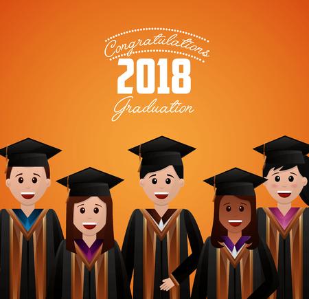 congratulations graduation smiling students celebrate vector illustration