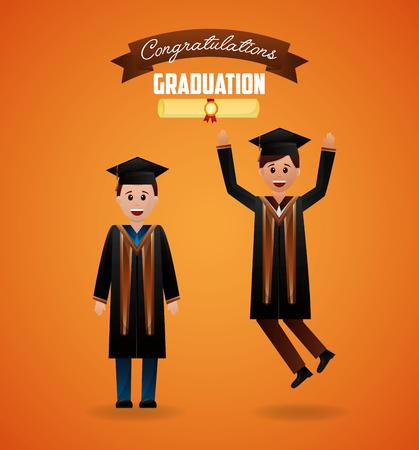 congratulations graduation ribbon sign students smiling jumping celebrate vector illustration