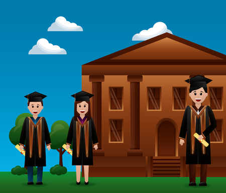 congratulations graduation school building studens outdoor smiling vector illustration