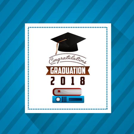 congratulations graduation hat sticker books ribbon vector illustration Stock Illustratie