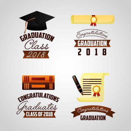 congratulations graduation signs books certificate vector illustration