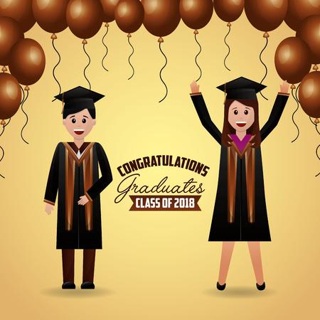 congratulations graduation brown balloons celebration students smiling vector illustration