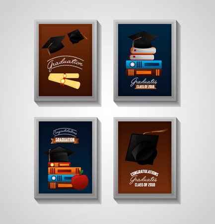 congratulations graduation labels colors books hats certificates vector illustration Ilustração