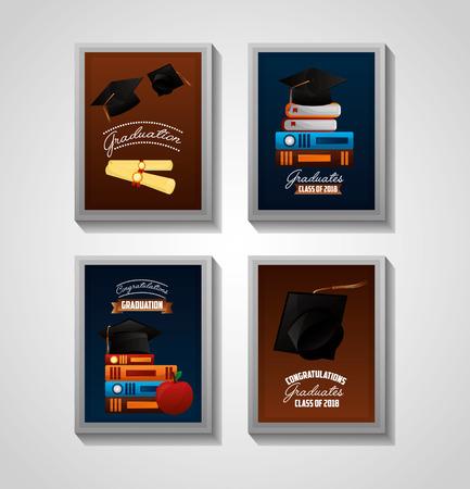 congratulations graduation labels colors books hats certificates vector illustration Illustration
