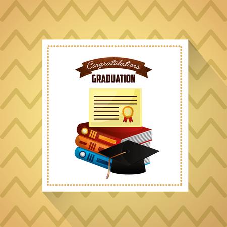 congratulations graduation label books ribbon sign certificate vector illustration Illustration