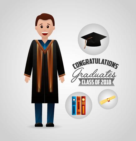 congratulations graduation happy boy student sign books vector illustration